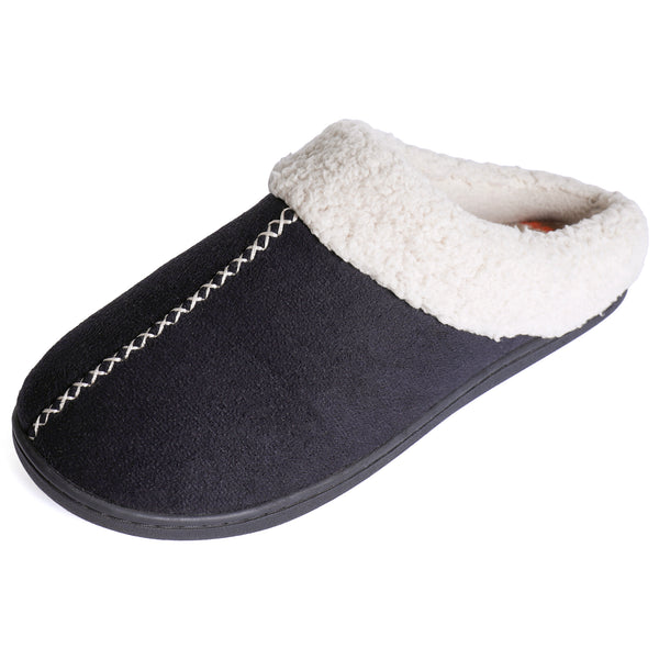 Women's Faux Suede Clog with Fair Isle Lining