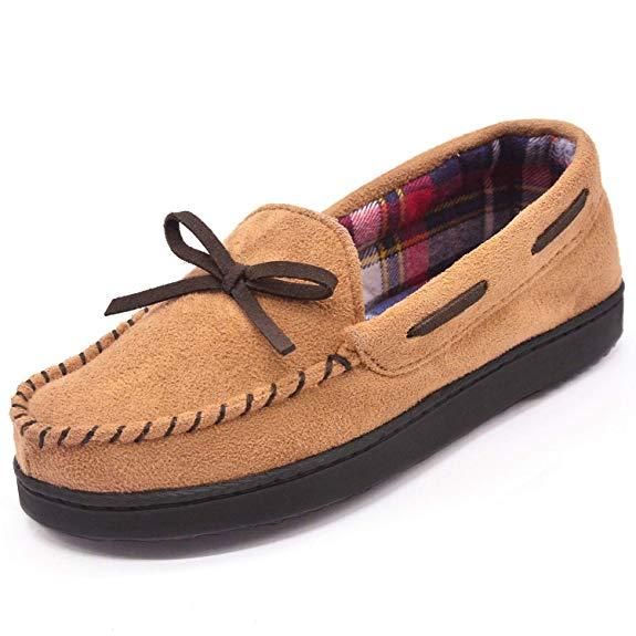 Women's Contrast Color Flannel Lined Moccasin