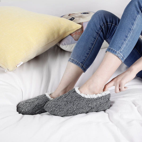 Women's Knitted Slipper Socks with Plush Fuzzy Wool-Like Lining