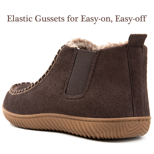 Men's Cozy Mocassin Slippers with Memory Foam and Warm Wool-Like Lining