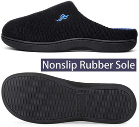 Mens Classic Two-Tone Slippers, Comfy Memory Foam House Shoes