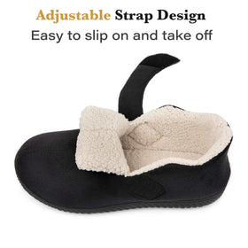 Men's Cozy Memory Foam Slippers with Adjustable Closure Strap