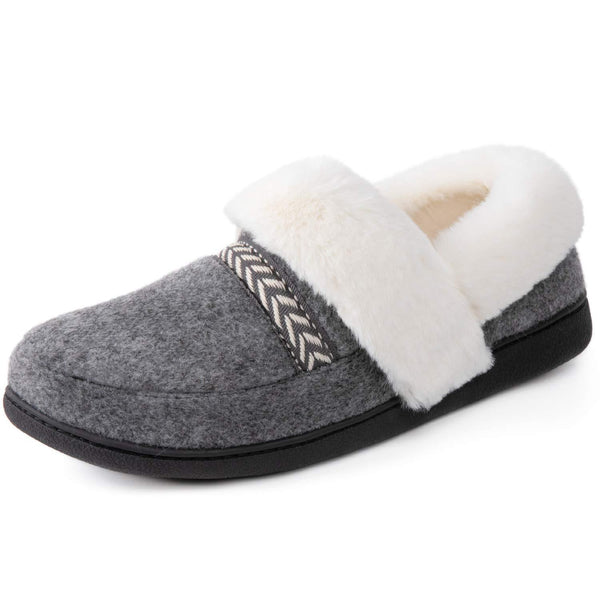 Women's Cozy Memory Foam Slippers with Fur Collar