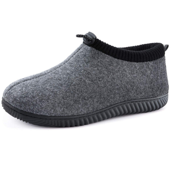 Men's Cozy Memory Foam Woolen Slippers with Elasticated Collar