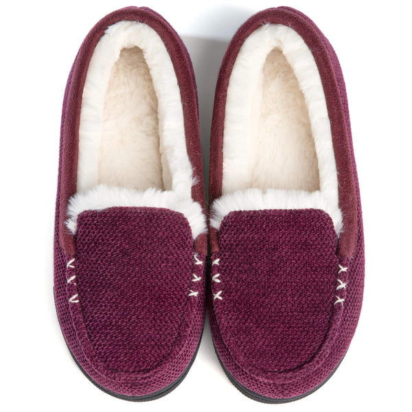 Women's Chenille Faux Fur Lined Moc Slipper