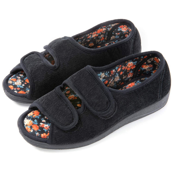 Women's Floral Lined Adjustable Slipper with Memory Foam
