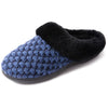 Women's Bubble Stitch Faux Fur Collar Slipper