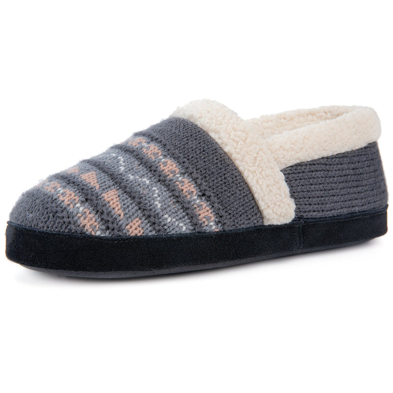Women's Fair Isle Knit Memory Foam Slipper with Rubber Sole