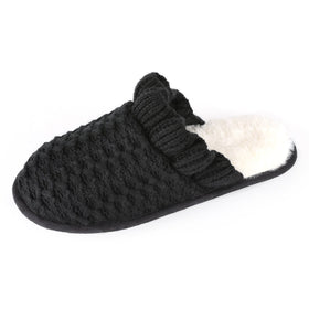 Women's Knit Ruffled Cuff Memory Foam Slipper