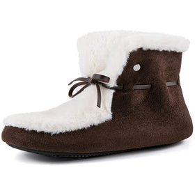 Women's Faux Fur Lined House Bootie Memory Foam Hardsole Slipper Boot with Adjustable Laces