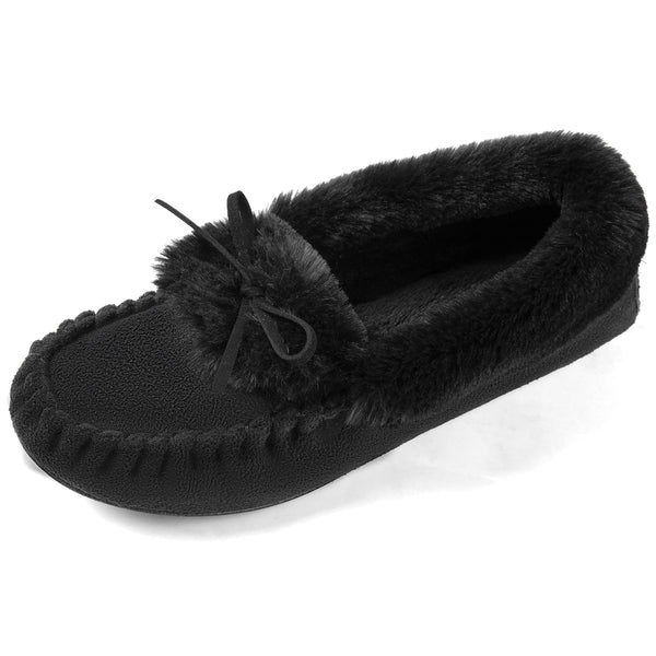 Women's Faux Fur Collar Moccasin Slipper