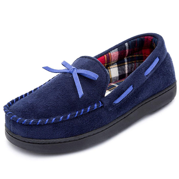 RockDove Women's Memory Foam Moccasin Slippers with Plaid Lining