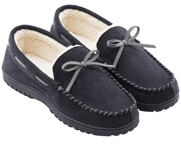 RockDove Men's Memory Foam Warm Wool Moccasin Slipper