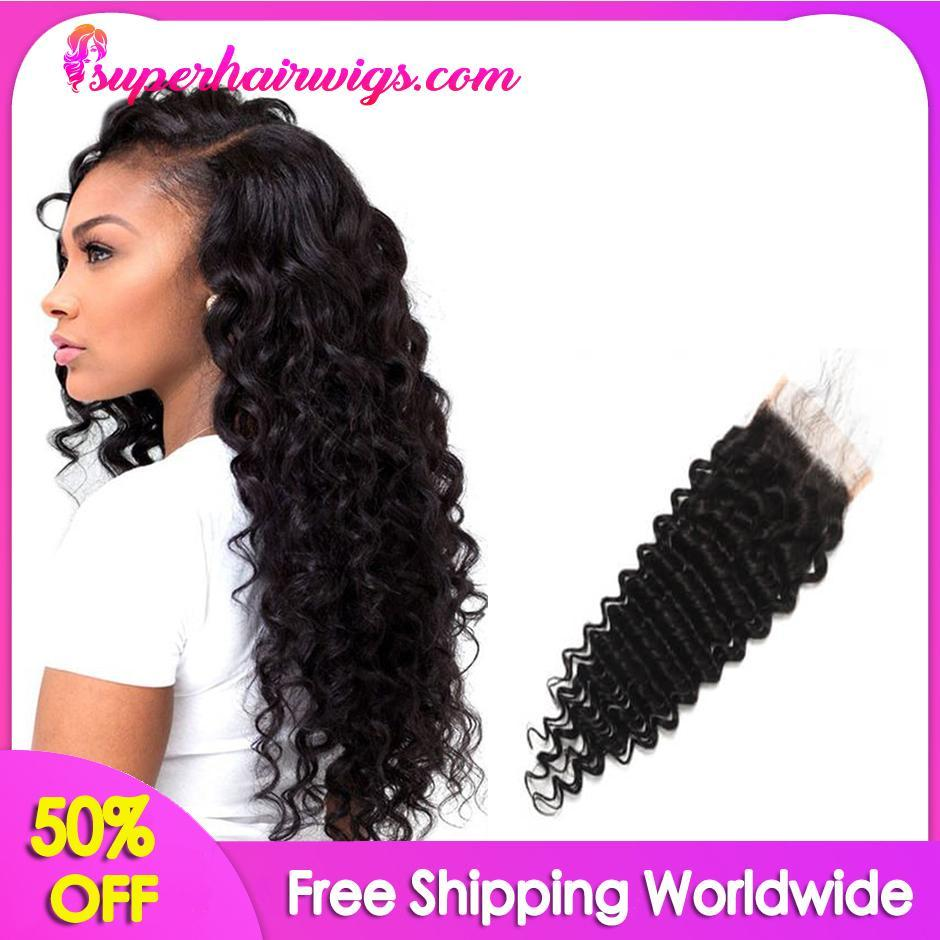 Peruvian Virgin Hair Deep Wave Hair Lace Closure 4*4 inch
