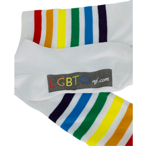 LGBTQ AF White Rainbow Tube Socks