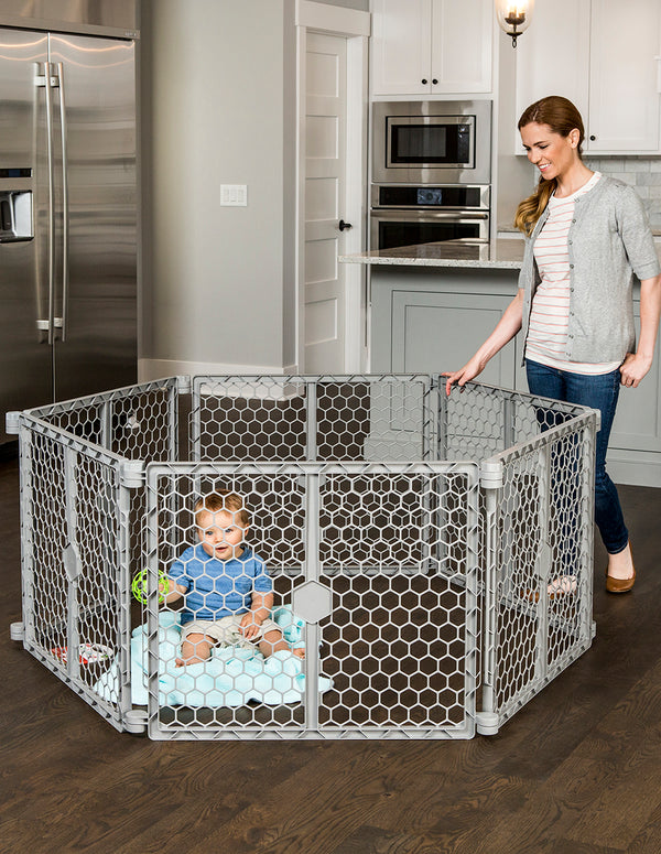 2-in-1 Plastic Play Yard and Safety Gate
