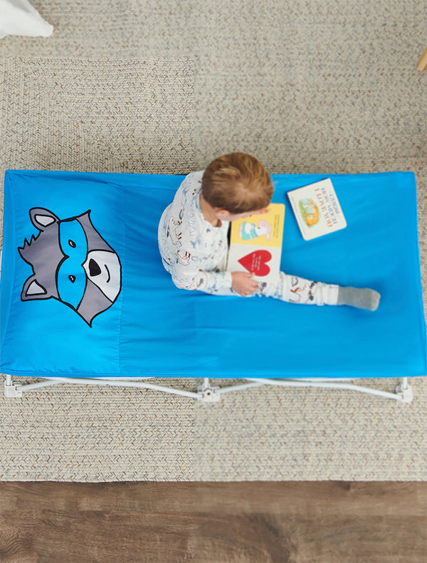 My Cot® Pals Portable Toddler Bed - Blue Raccoon