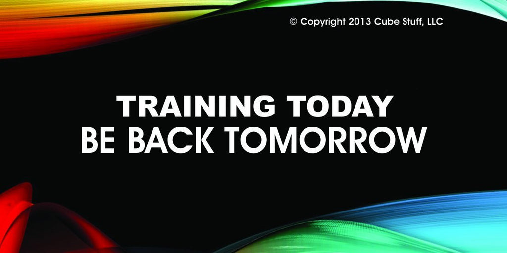 Training today Cube Sign Colored Background