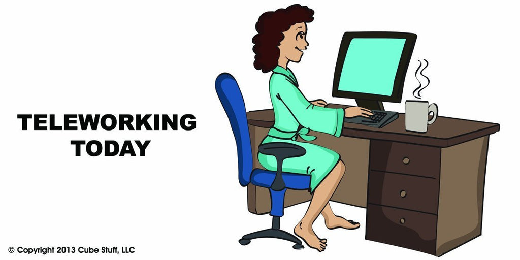 Teleworking Today Woman Cube Sign