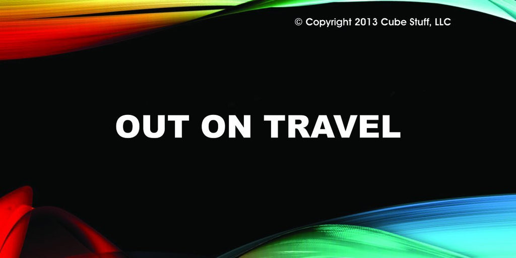 Out On Travel Cube Sign Colored Background