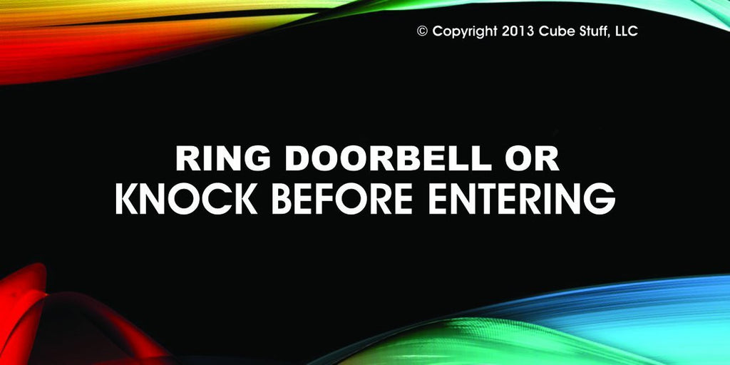Knock Before Entering Or Else Cube Sign Colored Background