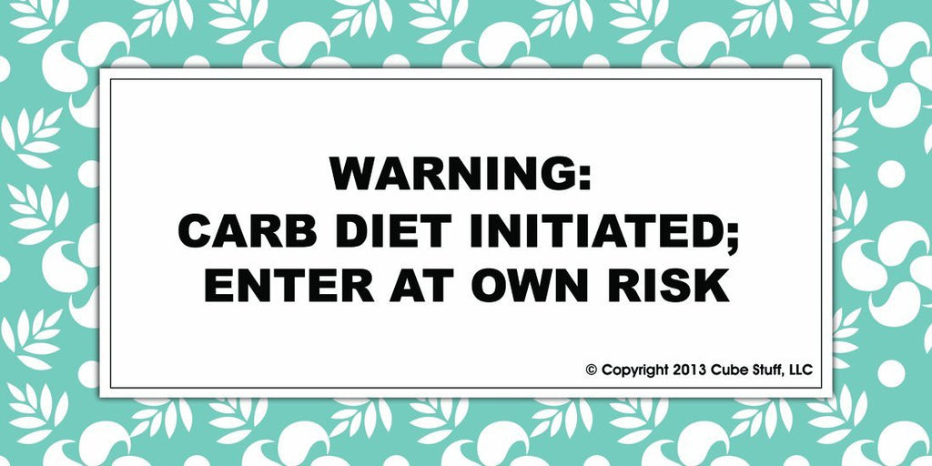 Warning Diet Initiated Cube Sign Blue Border