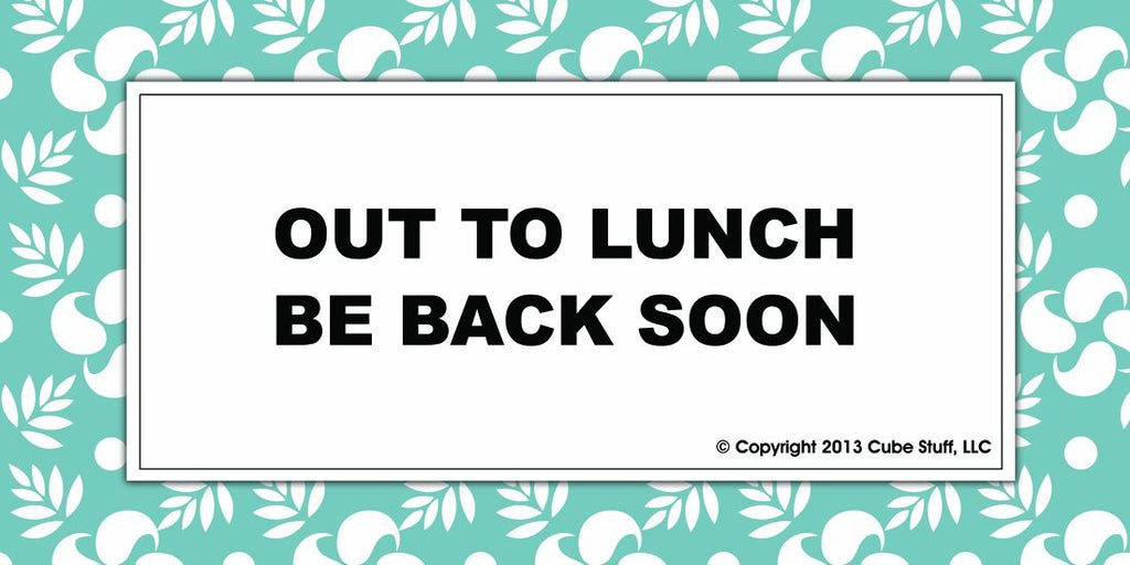 Out To Lunch Cube Sign Blue Border