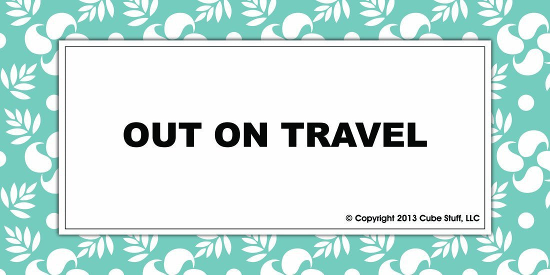 Out On Travel Cube Sign Blue Border - CubeStuff.com