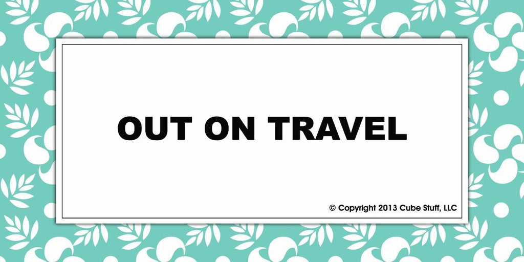 Out On Travel Cube Sign Blue Border