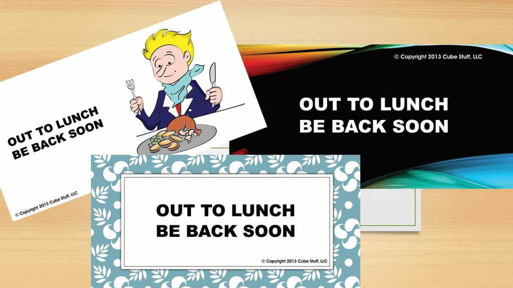 Office Cube Signs- OUT TO LUNCH