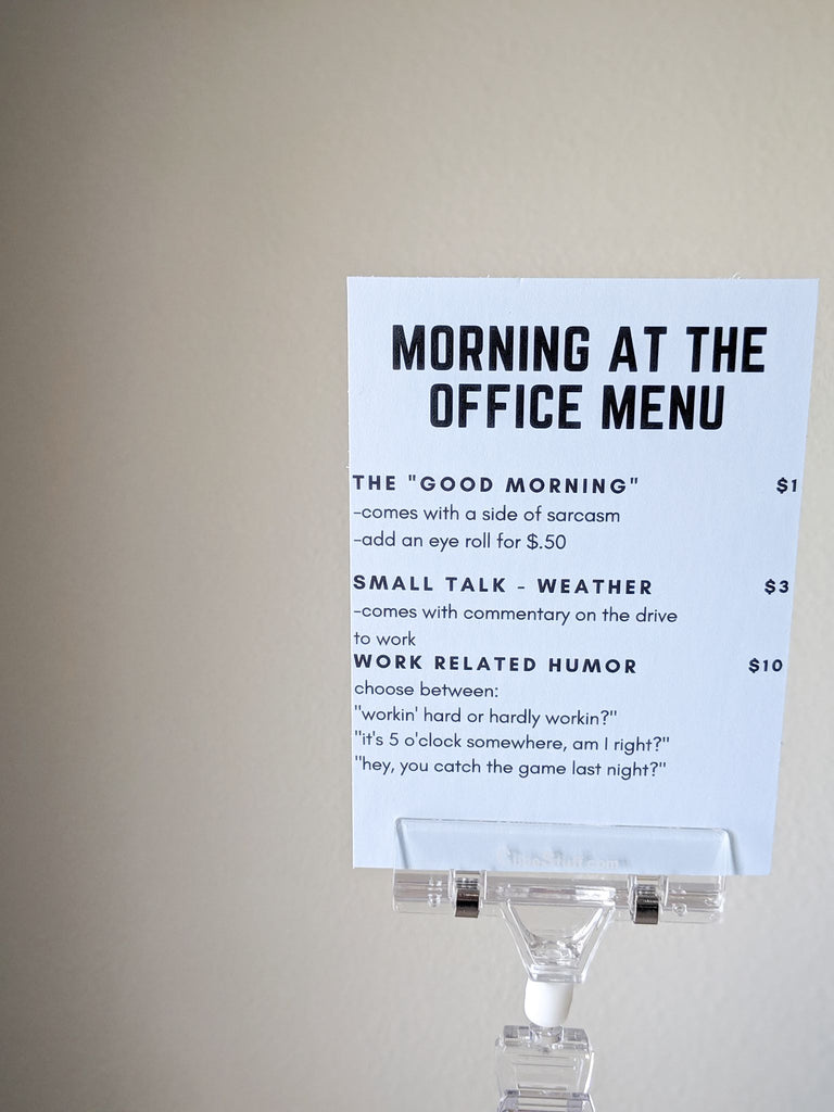 Morning At The Office Menu Sign