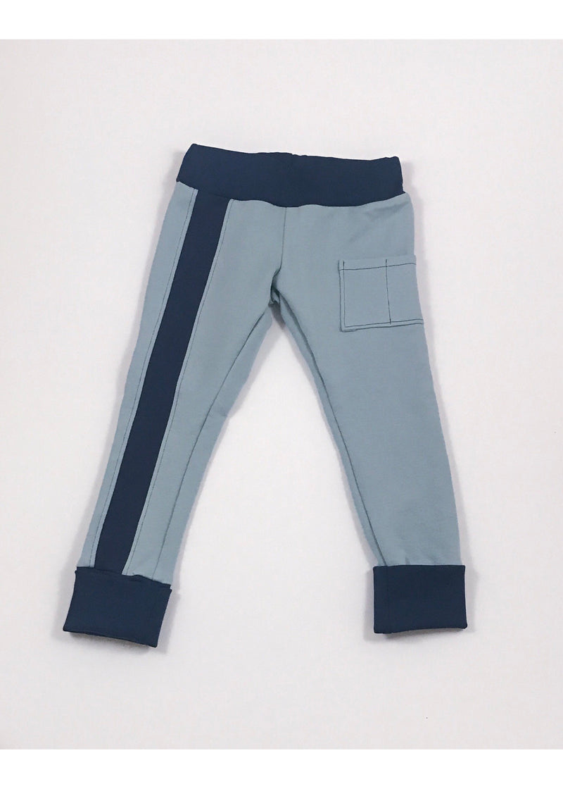 Light blue joggers with two patch pockets and front stripe