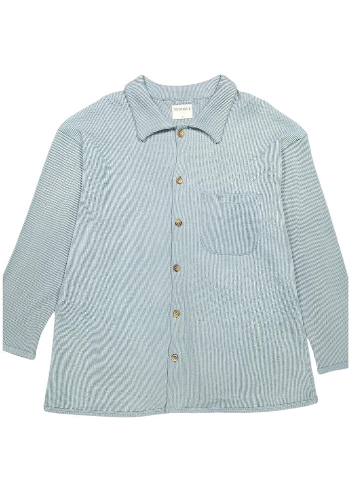 Long Sleeve Knitted Shirt in Light Blue