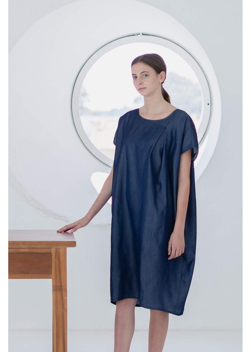 Dress Cocoon in Blue Lyoncell