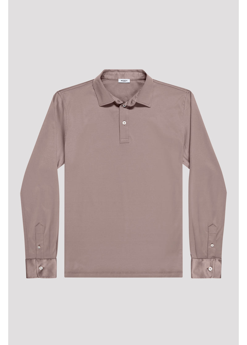 Desert Taupe Supima Cotton Long Sleeve Polo Shirt