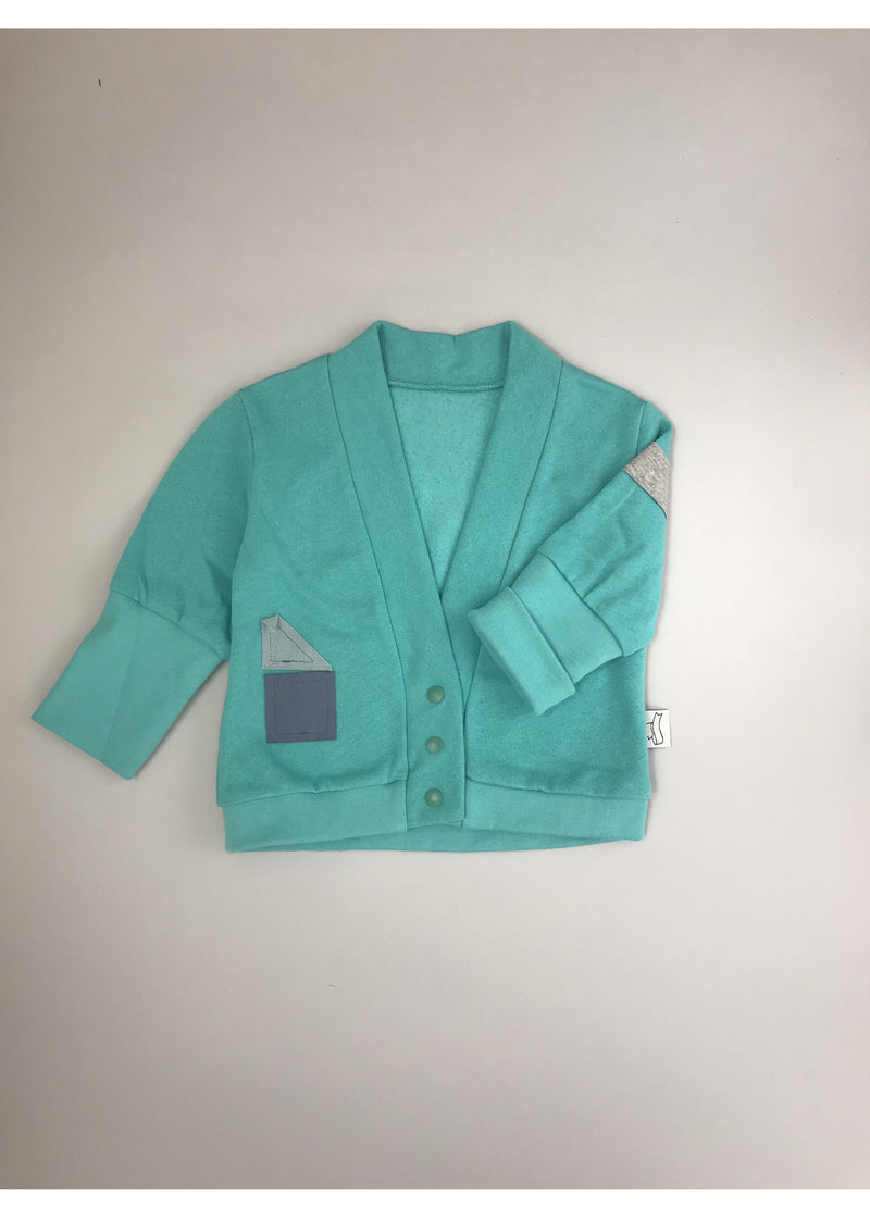 BB green long sleeve cardigan with shapes