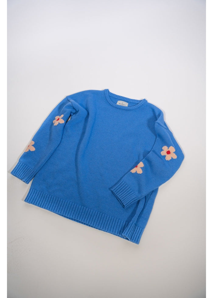 Daisy Knitted Sweater in Sky Blue