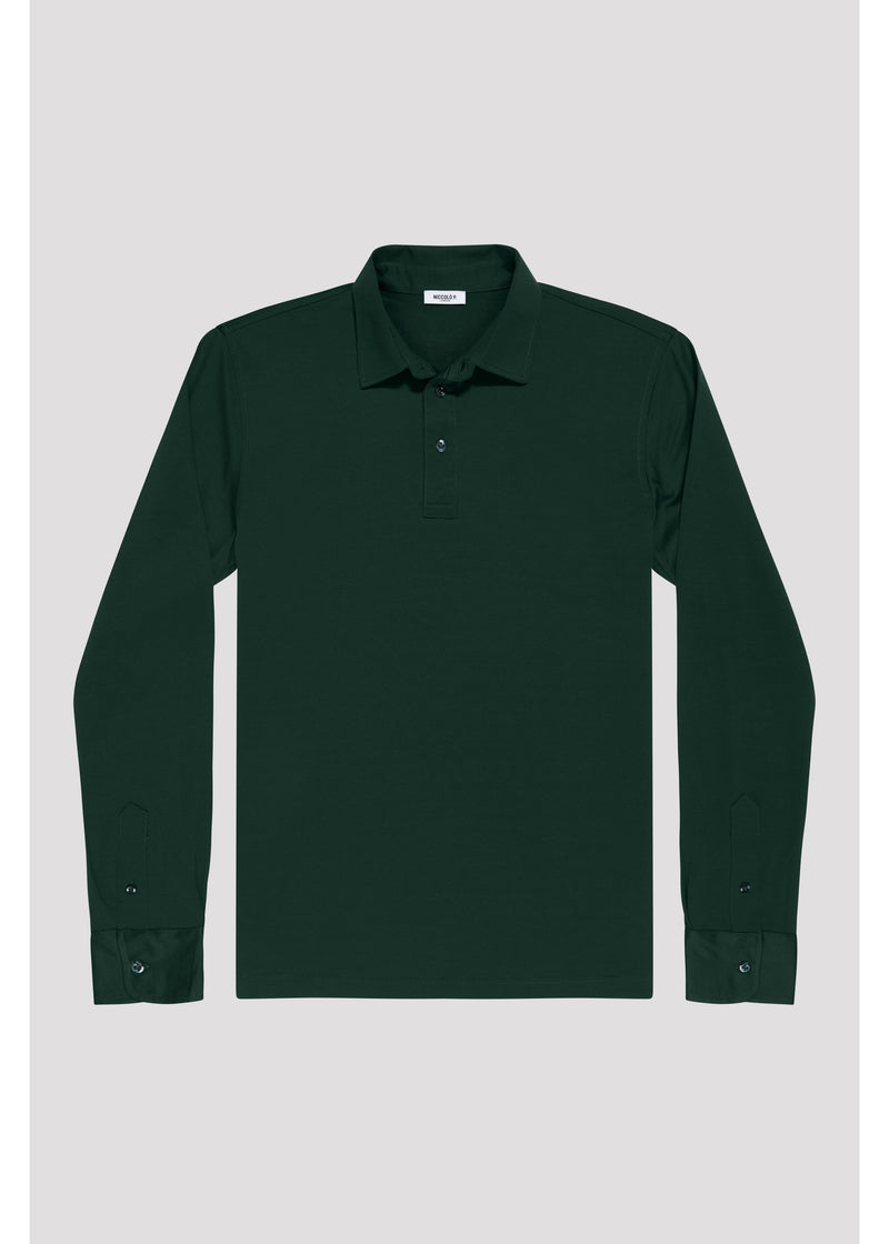 Racing Green Supima Cotton Long Sleeve Polo Shirt