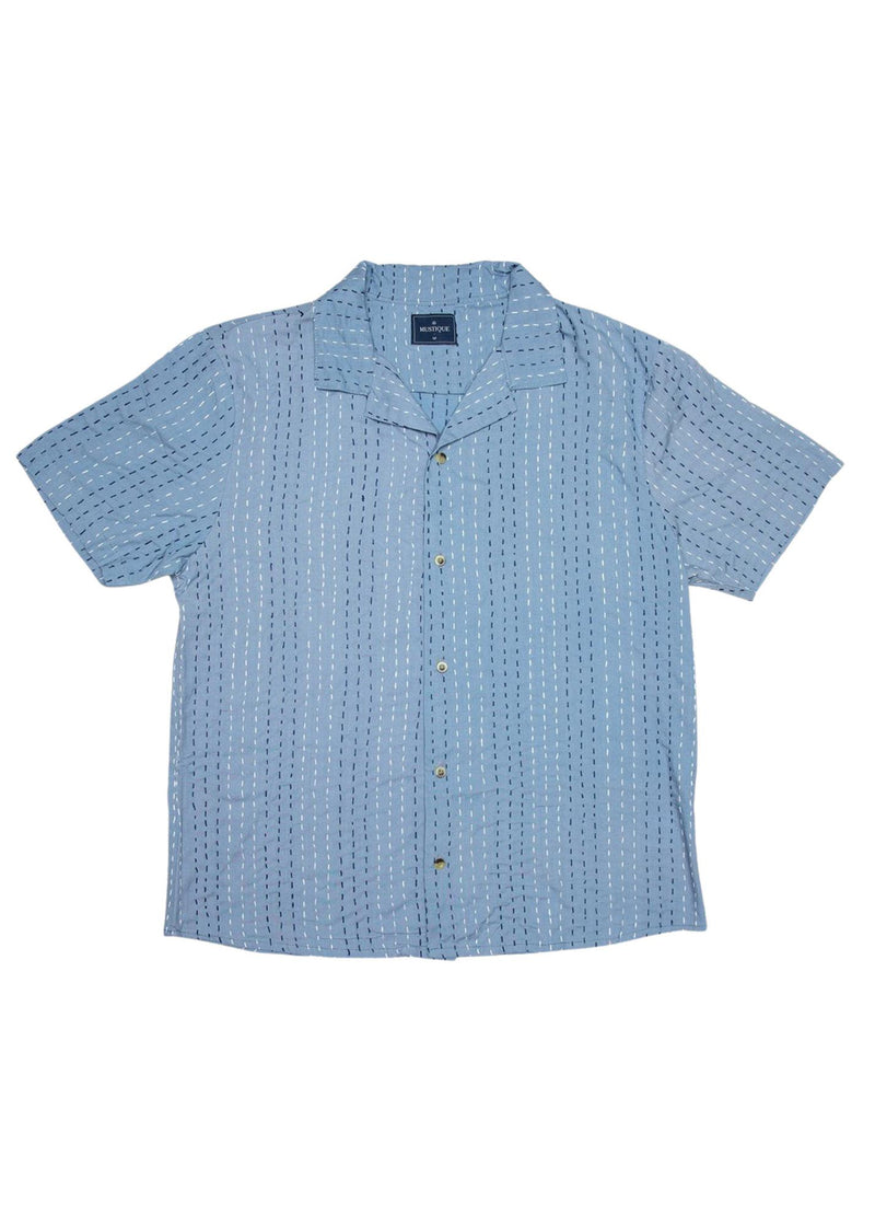 Blue Embroidered Short Sleeve Shirt