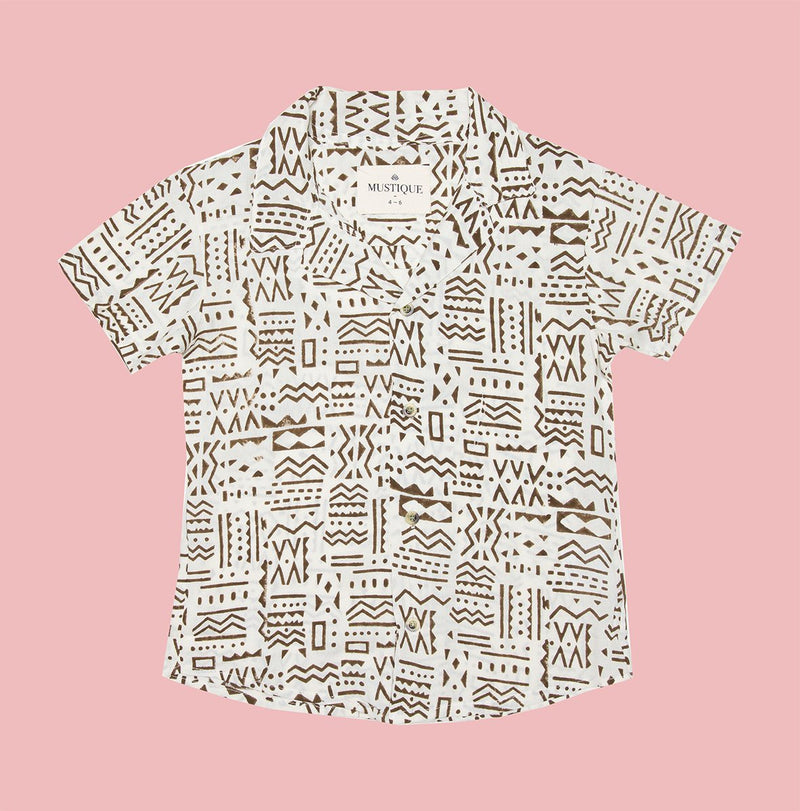 Mini Beige Short Sleeve Shirt