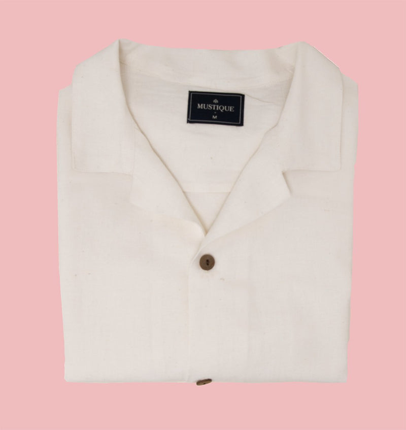 Ivory Linen Short Sleeve Shirt