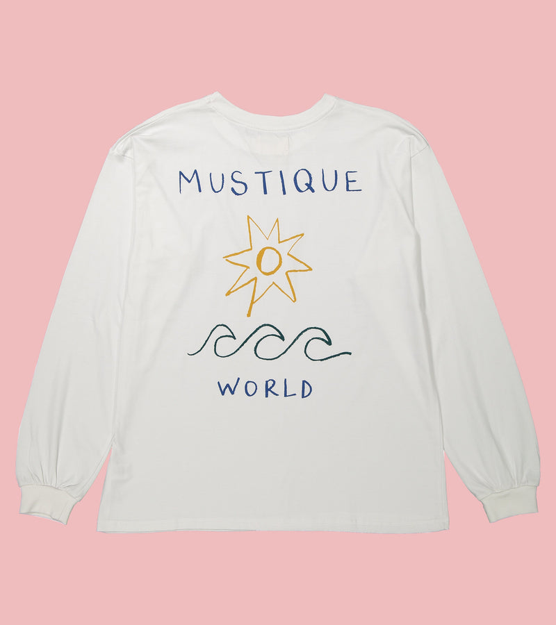 'Mustique World' Long Sleeve Tee in White