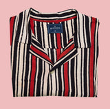 Red and Black Striped Short Sleeve Shirt