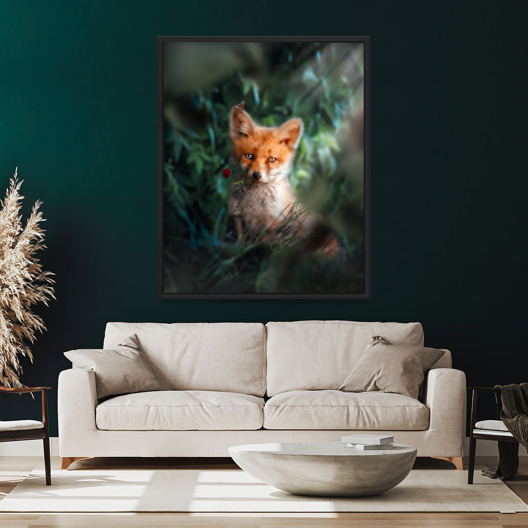 Fox With Rose - MoodCanvas
