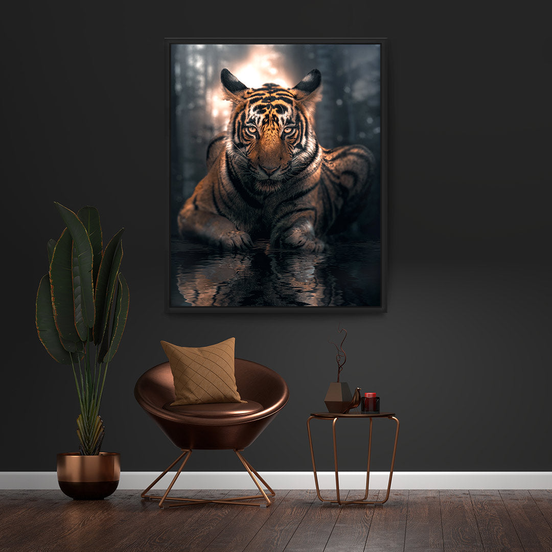 Tiger At Night - MoodCanvas