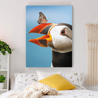 Atlantic Puffin & Butterfly - MoodCanvas