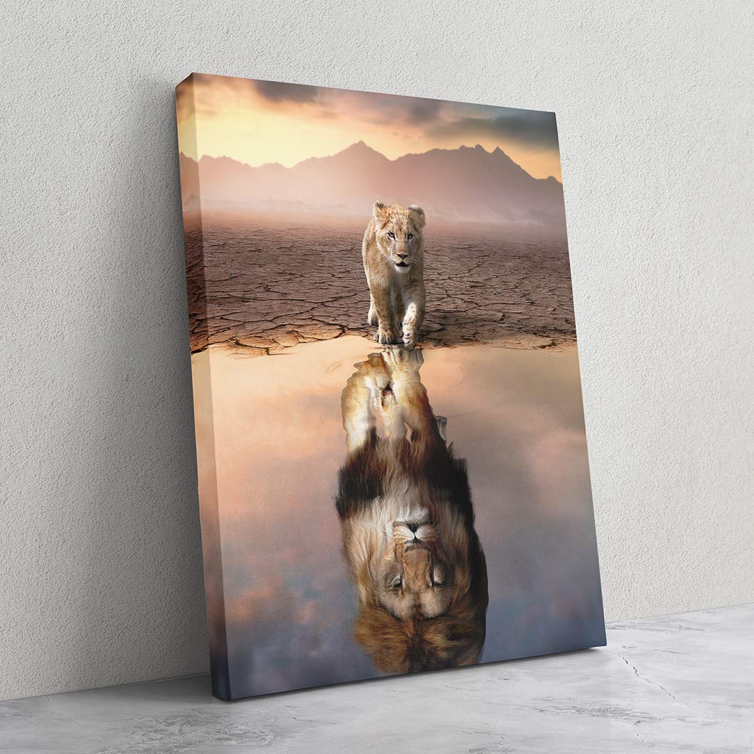 Lion Reflection - MoodCanvas