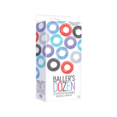 The 9's, Baller's Dozen, 12-Piece TPE Cock Ring Set