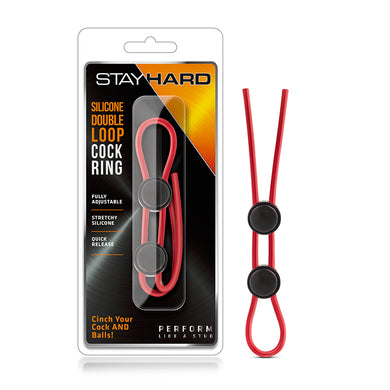 Stay Hard - Silicone Double Loop Cock Ring - Red