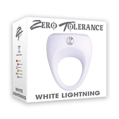 ZT White Lightning Vibrating Cock Ring One Speed Motor Silicone Waterproof